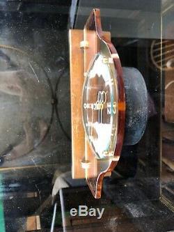 Vintage Art Deco Pink Mirror Glass, Brass & Wood Mantel Clock 1930s Working