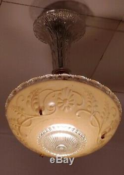 Vintage Art Deco Pink Raised Glass hallway Light Fixture flush mount rewired