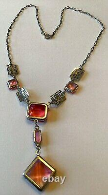 Vintage Art Deco Sterling Silver Pink Rhinestone Filigree Necklace