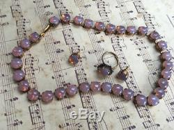 Vintage Art Glass Pink Opal Necklace choker, stud earrings and ring Set