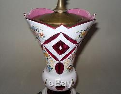 Vintage Bohemian Czech Cased White to Cranberry Pink Glass LAMP hndpntd Flwrs