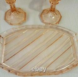 Vintage Czechoslovakian Peach Art Deco Glass Vanity Set