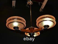 Vintage Danish Art deco 3 Teak arm chandelier chrome plate, handmade Gilt glass