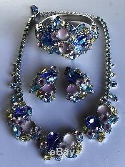 Vintage Designer Art Glass Blue Pink Green Rhinestone Necklace Bracelet Earrings