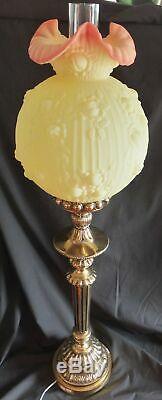 Vintage FENTON GLASS BURMESE BANQUET PILLAR LAMP ROSE PATTERN 36