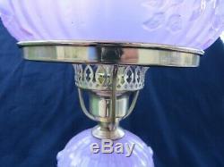 Vintage FENTON Glass Satin Pink Cabbage Rose Ruffled Table Desk Lamp Marble Base