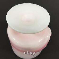 Vintage FENTON Rosalene PINK Opaque Milk Glass CHESSIE Cat Covered Candy Jar