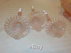 Vintage Fenton 3 Horn Epergne Carnival Glass Velva Rose Pink Diamond Lace #4801