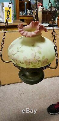 Vintage Fenton Burmese Dogwood Flowers Hanging Lamp Satin Pink Yellow 10 Fitter