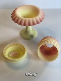 Vintage Fenton Burmese Hobnail 3 Piece Footed Fairy Lamp Light 95th Ann RARE