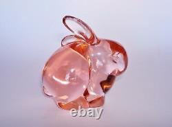 Vintage Fenton Champagne Rose Glass Bunny Rabbit