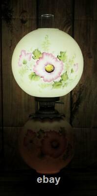 Vintage Fenton Glass GWTW Hurricane Parlor Table Oil Lamp Pink Floral 28 t