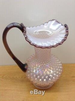 Vintage Fenton Glass- Pink Iridescent Hobnail Carnival Crest Pitcher Large