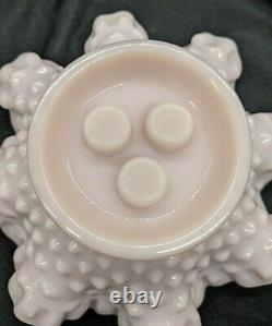 Vintage Fenton Hobnail Rose Pastel Milk Glass 3 Horn Epergne