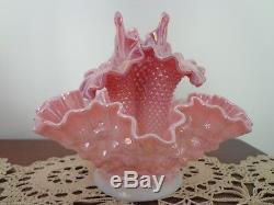 Vintage Fenton Iridescent Pink Hobnail 4 Pc 3 Horn/peg Epergne