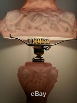 Vintage Fenton LG Wright Pink Cased Puffy Cabbage Rose Parlor Lamp & Night Light