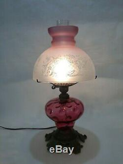 Vintage Fenton Lamp Cranberry Glass withEtched Pink Vianne France Shade, 18 1/2 T