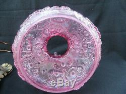 Vintage Fenton Pink Glass Poppy Student Hurricane Table Lamp