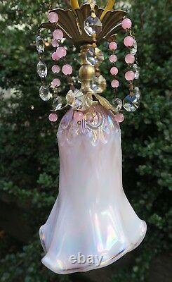Vintage Fenton Pink Iridescent Glass lily valley hanging Swag Lamp brass beaded