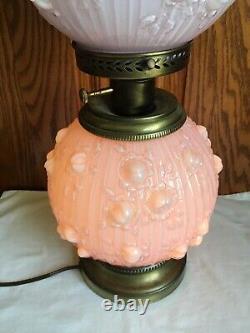 Vintage Fenton Pink Lavendar Cabbage Rose Overlay Gond With The Wind Lamp
