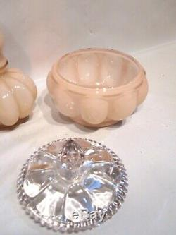 Vintage Fenton Pink Rose Overlay Melon Vanity Perfume Bottles Powder Box 8 Pcs