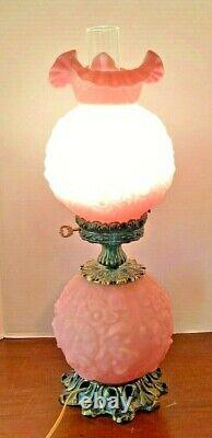 Vintage Fenton Pink Satin Poppy Lamp