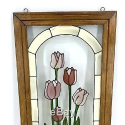 Vintage Hanging Stained Glass Art Panel Pink Tulips Flower Garden Window Wall