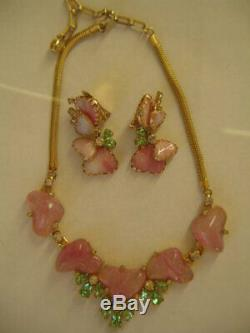 Vintage Hobe Pink Slag Hearts Mayorka Petal Art Glass Necklace & Earrings