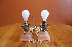 Vintage Houze Glass Art Deco Pink Electric Boudoir Bullet Lamps with Pull Chains