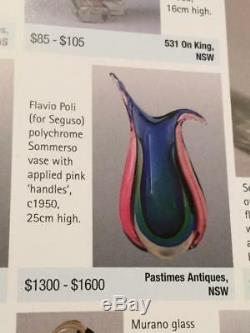 Vintage Italian Murano Sommerso Pink Green Blue Aqua Coloured Art Glass Vase