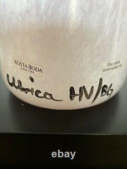 Vintage Kosta Boda Pink Art Glass Open Minds Large Vase 13 1/2, Signed By UHV