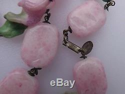 Vintage Miriam Haskell Necklace Pink Peking Glass Rare Art Glass Twist Beads