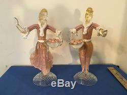 Vintage Murano Aventurine and Pink Glass Figures of Man and Woman Large