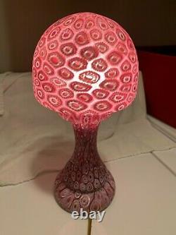 Vintage Murano Millefiori Lamp Murano Italian Art Glass PInk Mushroom 14 inches