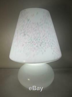 Vintage Murano Vetri Art Glass Pink Grey Confetti Table Lamp 15 1/4 Inches