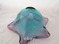 Vintage Murano sommerso venini fazzoletto art glass bowl 60's