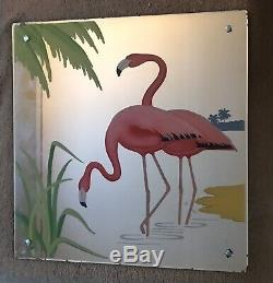 Vintage Pink Flamingo on Peach Glass Mirror Pink, Black, Yellow, Green, 1950s