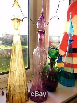 Vintage Pink Purple Hourglass Genie Bottle 1960s Italian Empoli Optic 1960s