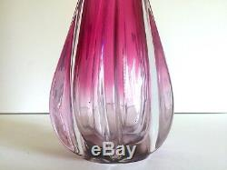 Vintage Rare MID Century Modern Art Vannes Crystal Magenta Pink Art Glass Vase