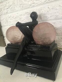 Vintage Sarsaparilla Art Deco Style Nude Lady Nymph Lamp Pink Hand Blown Shades