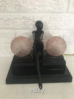 Vintage Sarsaparilla Art Deco Style Nude Lady Nymph Lamp Pink Hand Blown Shades
