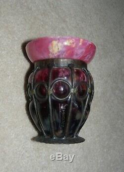 Vintage Schneider Art Glass Vase in Wrought Iron Frame French Art Deco