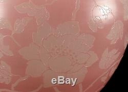 Vintage Steuben Acid-etched Floral Art Glass Vase Pink Rosaline & Alabaster 6078