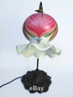 Vintage Stuart Abelman 1985 Signed Pulled Feather Art Glass Table Desk Lamp