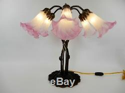 Vintage Tiffany Lilly Pad Pond Lamp Light Stained Art Glass Pink Tulip Shades