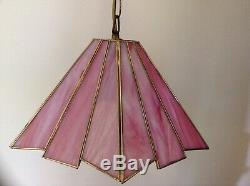Vintage Tiffany Style Ceiling Pendant Light Fitting Pink Stained Glass Art Deco