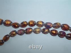 Vintage Venetian Art Deco Pink Purple Foil Opalescent Glass Necklace