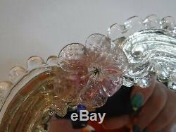 Vintage Venetian Pink Flower & Clear Murano Art Glass Vanity Table Mirror