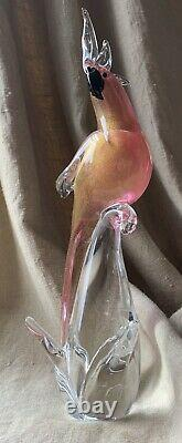 Vintage Venetian Pink Gold Fleck Murano Art Glass Parrot Cockatoo Bird, Italy LG