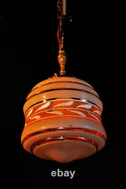 Vintage art deco reclaimed architectural hand painted glass & brass pendant